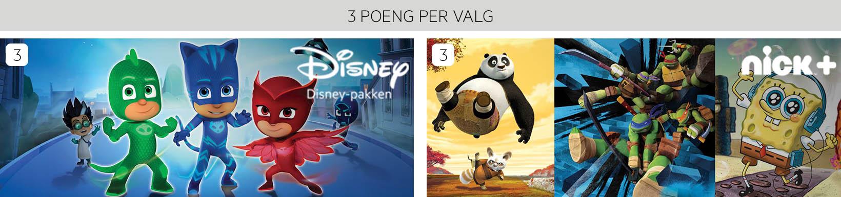 Disney og nickpluss 3 poeng